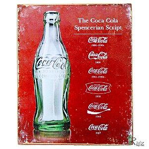 Quadro Retrô Coca Cola Madeira Estilo Placa 19x23 cm