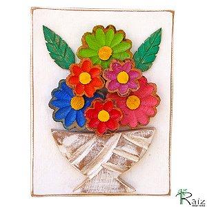 Quadro Vaso De Flores Coloridas Rústico Encerado