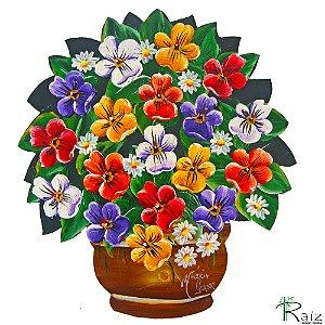 Quadro Vaso de Flores Recortado em Chapa de Ferro Pintado