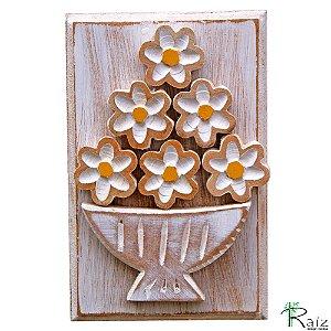 Quadro Vaso De Flores Rústico Pátina Branca
