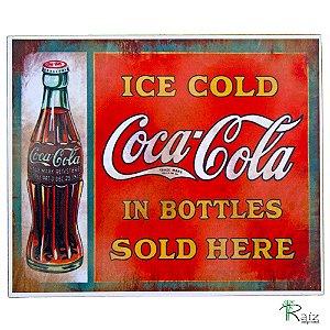 Placa Retrô Coca Cola 5 Linha Vintage (19x23cm)
