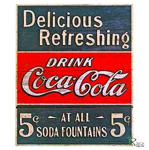 Placa Retrô Coca Cola Linha Vintage (23x19cm)