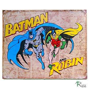Placa Retrô Coleção Desenhos Batman e Robin Linha Vintage (23x19cm)