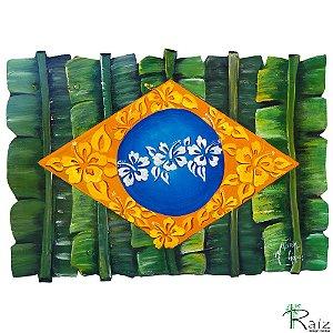 Quadro Artesanal Galvanizado Bandeira do Brasil Pintado
