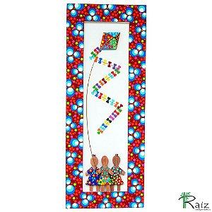 Quadro Crianças com Pipa 2 Madeira Coleção Fantasia Linha Luxo 60cm