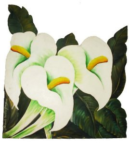 Quadro Copos de Leite Pintado -Painel de Madeira Recortado- (79x84cm)