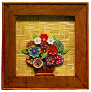 Quadro de Flores Madeira com Fundo em Esteira (31x31cm)
