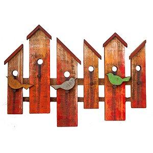 Quadro Decorativo Painel de Pássaros Madeira de Demolição