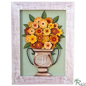 Quadro Decorativo Vaso de Flores Amarelas e Laranjas Madeira Luxo