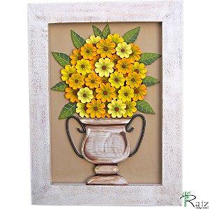 Quadro Decorativo Vaso de Flores Amarelas e Mostarda Madeira Luxo