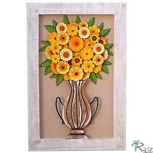 Quadro Decorativo Vaso de Flores Amarelas Madeira Luxo