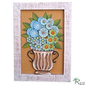 Quadro Decorativo Vaso de Flores Azuis Madeira Luxo