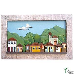 Quadro Decorativo Vilarejo em Alto-relevo