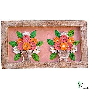 Quadro Dois Vasos de Flores Fundo Rosa Rústico