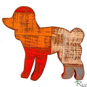 Quadro em Madeira de Demolição Cachorro Poodle