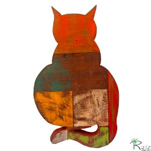 Quadro em Madeira de Demolição Gato