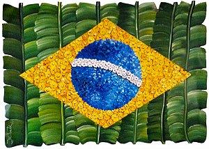 Quadro Escultura de Parede Bandeira do Brasil Chapa de Metal Galvanizado Pintada e Recortada 85 cm
