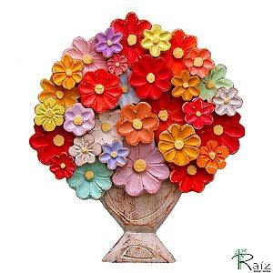 Quadro Tipo Ânfora Vaso de Flores Coloridas