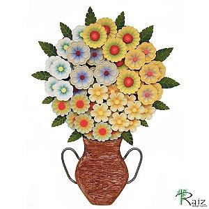 Quadro Tipo Ânfora Vaso De Flores Recortado Madeira Amarelo 56cm