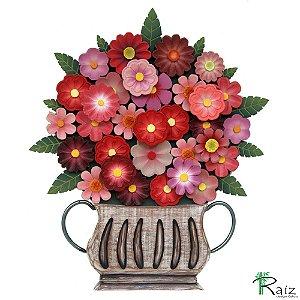 Quadro Tipo Ânfora Vaso De Flores Recortado Madeira Vermelho 46cm