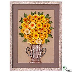 Quadro Vaso de Flores Amarelas com Fundo Marrom e Bege