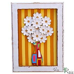 Quadro Vaso De Flores Fundo Listrado Colorido