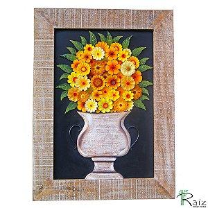 Quadro Vaso de Flores com Fundo Preto e Moldura Patinada
