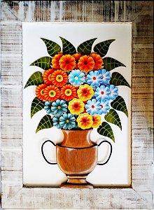 Quadro Vaso de Flores Fundo Branco com Peças Sobrepostas e  Pintura 100% Manual Coleção Luxo G