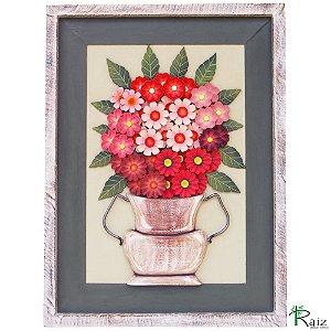 Quadro Vaso De Flores Madeira Rosa e Pátina Branca 80cm