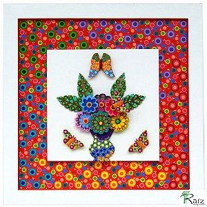 Quadro Vaso de Flores - Peças Sobrepostas  Pintura 100% Manual Linha Moderna 2 (45x45cm)