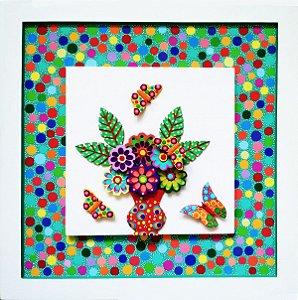 Quadro Vaso de Flores - Peças Sobrepostas  Pintura 100% Manual Linha Moderna (45x45cm)