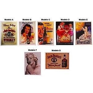 Ímã de Geladeira Vintage Retrô Coca, Guaraná e Whiskey (Unidade)