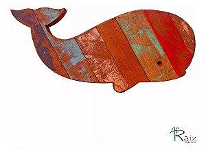 Quadro Artesanal Baleia Em Madeira De Demolição