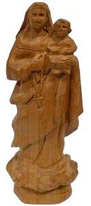 Imagem de Nossa Senhora do Rosário Esculpida a Mão Madeira 12cm