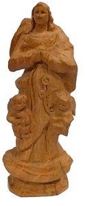 Imagem de Nossa Senhora Desatadora dos Nós Esculpida a Mão Madeira 12cm