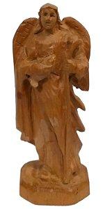 Imagem do Anjo Rafael Esculpida a Mão Madeira 12cm (Protetor dos Médicos, Sacerdotes, Soldados e dos Viajantes)