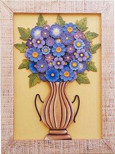 Quadro Vaso de Flores Lilás Moldura Patinada 80x60cm