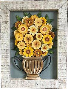 Quadro Vaso de Flores Amarelas Moldura Patinada 80x60cm