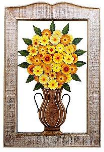 Quadro Vaso de Flores Amarelas Linha Luxo (105 X 70 cm)