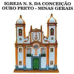 Igreja Nossa Senhora da Conceição Fachada Histórica Ouro Preto 23 cm
