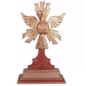 Divino Espírito Santo com Resplendor e Pedestal Madeira Pátina Branca Encerado 31cm
