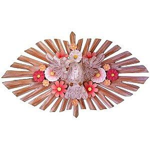 Divino Espírito Santo Com Flores Resplendor Oval Luxo