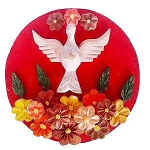 Mandala Divino Espírito Santo Madeira Com Flores Luxo