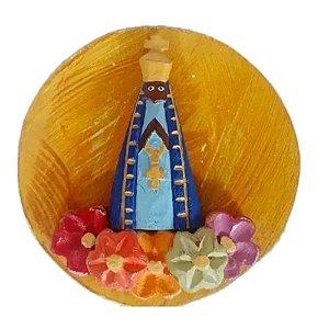 Mandala Nossa Senhora Aparecida Madeira Flores Coloridas P