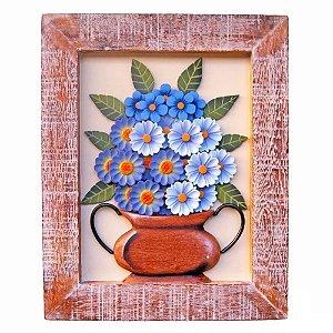 Quadro Vaso De Flores Coloridas Com Fundo Bege (50x40)cm