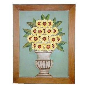 Quadro Vaso De Flores Girassol Madeira (55x70)cm