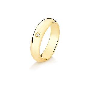 Aliança Tubo Air em Ouro 18K anatômica arredondada 5mm com Diamantes de 3 pontos (A15.164.5)