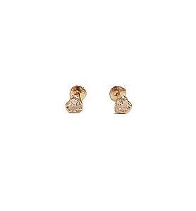 Brinco Infantil Ouro 18K Coração de Zirconia Branca