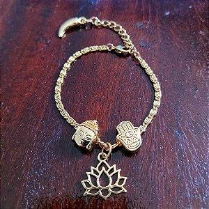 Pulseira Dourada Flor de Lótus + Buda + Mão de Fátima