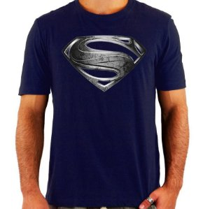 Camiseta Superman - Man Of Steel - Prata